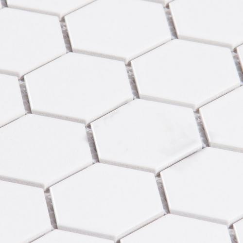 White Matte Hexagon Porcelain Mosaic