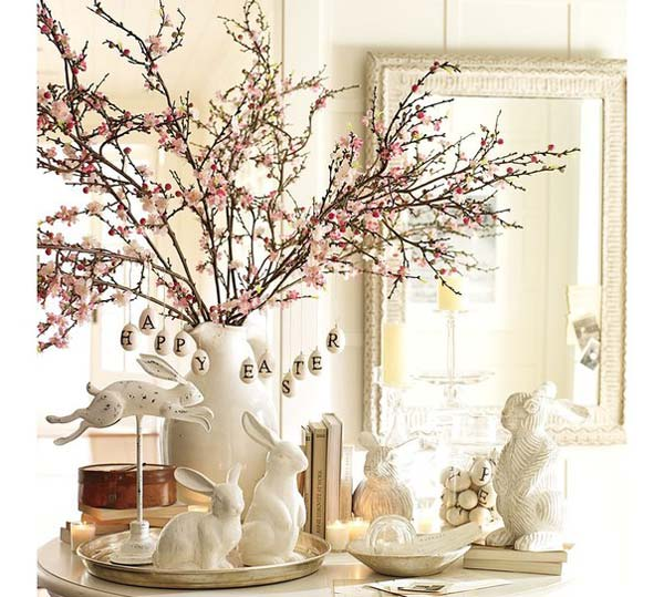 Tree Branches with Blossoms and Easter Eggs
